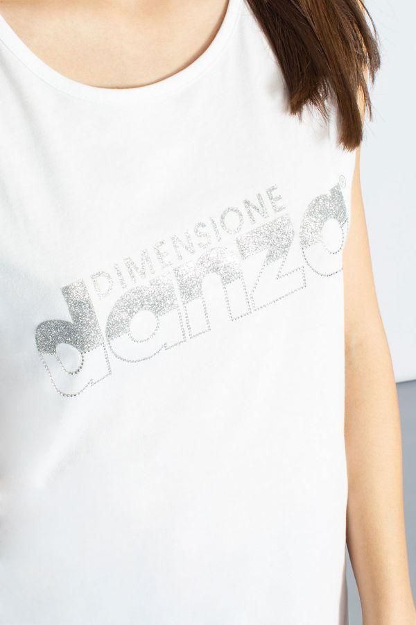 Canotta in jersey modal con logo in lurex