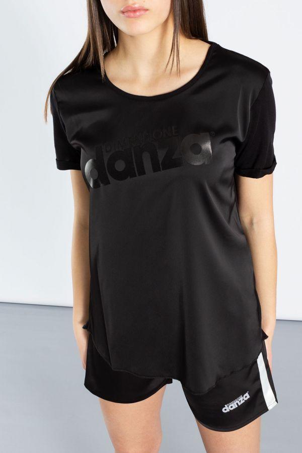 T-shirt in raso e jersey modal