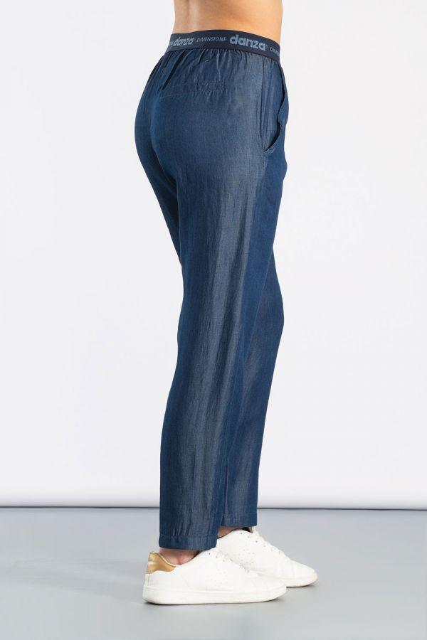 Pantalone in chambray con elastico logato