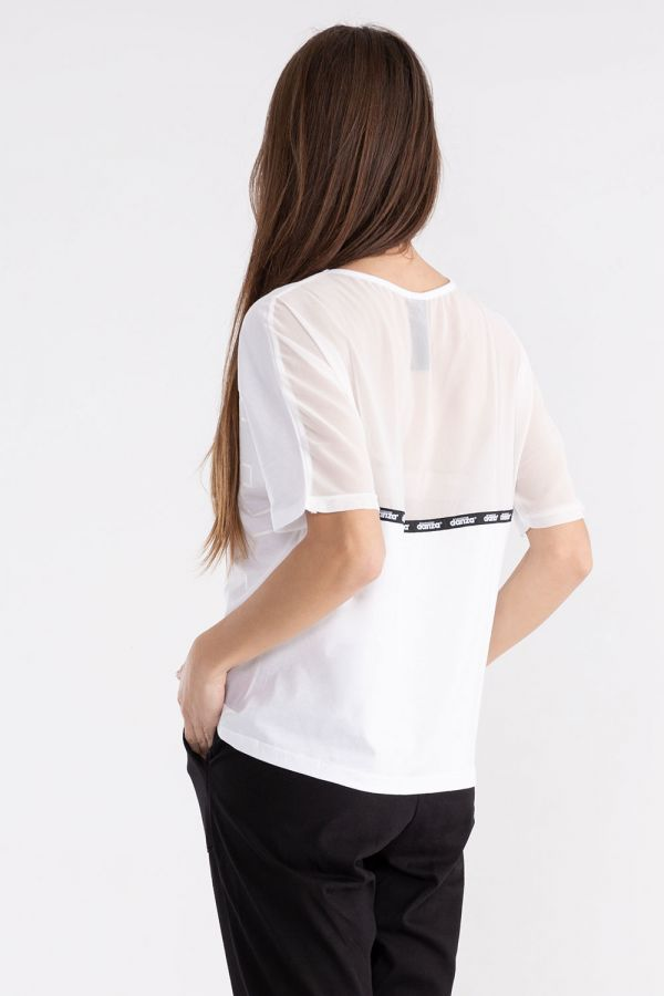 T-shirt da donna a manica corta in jersey e tulle