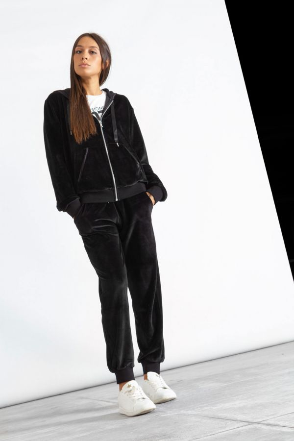 Giacca donna in ciniglia con cappuccio e chiusura zip