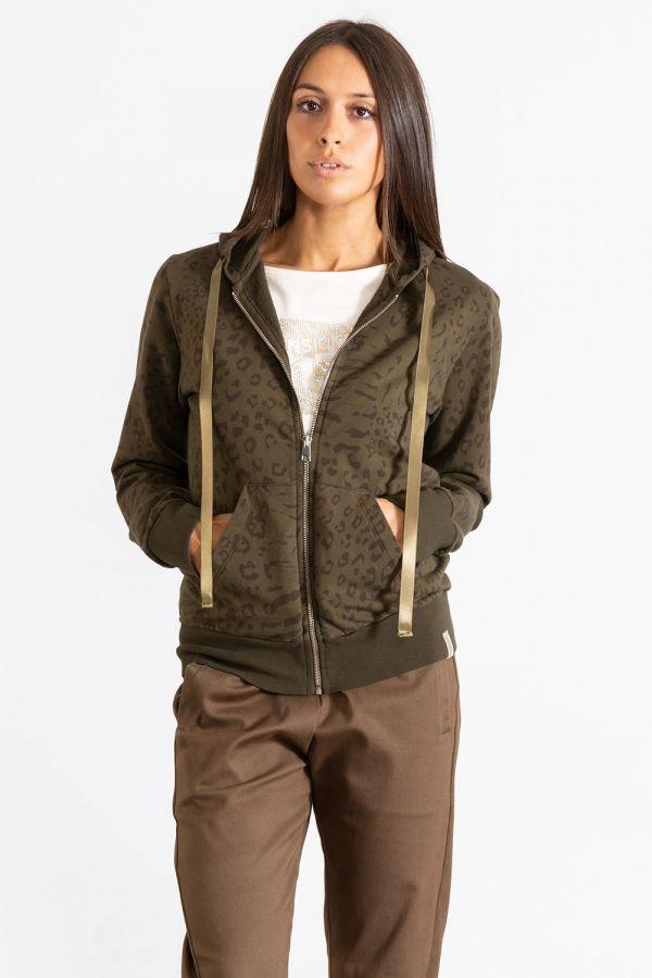 Giacca donna animalier con cappuccio e zip