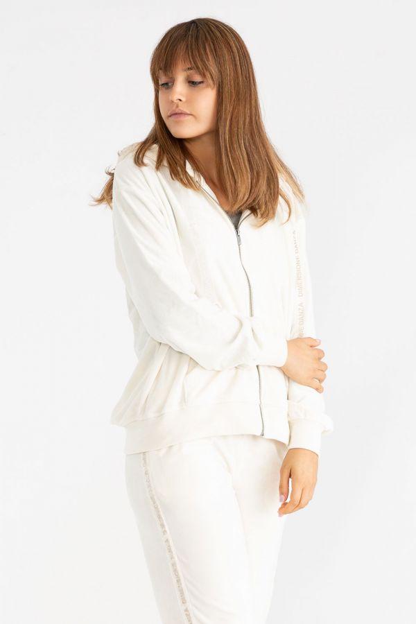 Giacca da donna in ciniglia, con cappuccio e chiusura zip