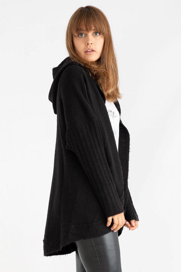 Maglia da donna con cappuccio, con manica lunga a coste